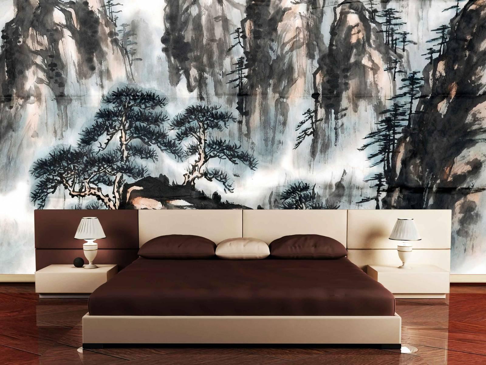Фотообои в японском стиле в спальне