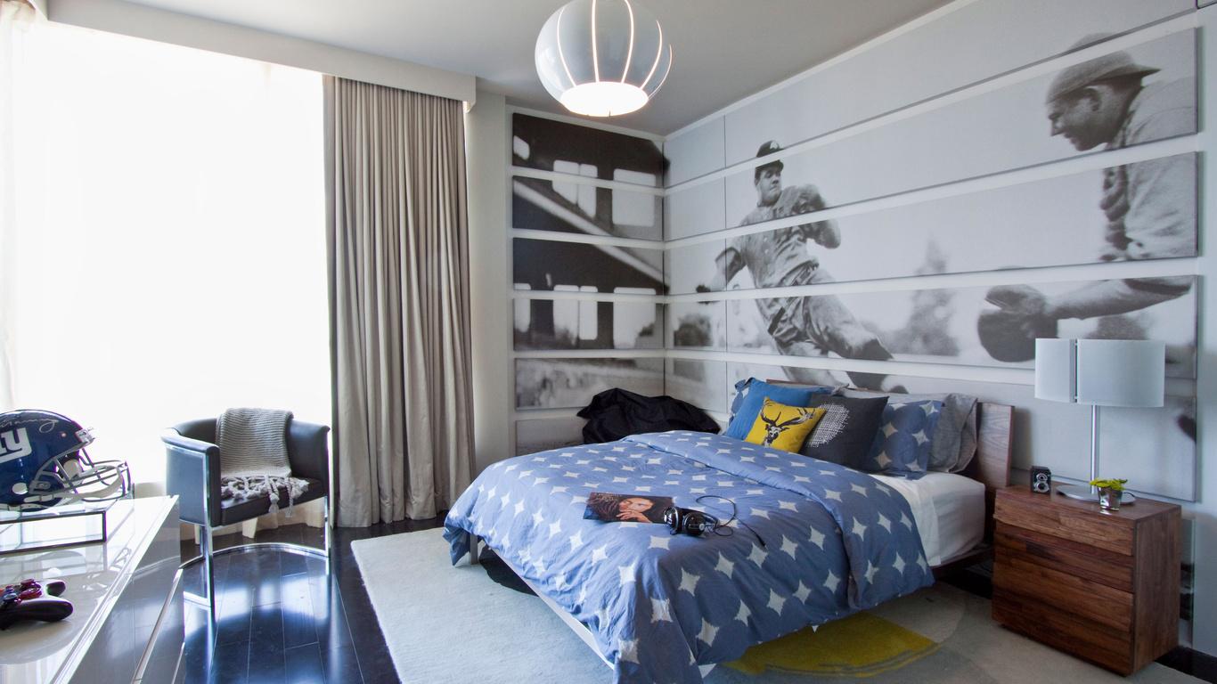 Черно-белые фотообои в спальне подростка