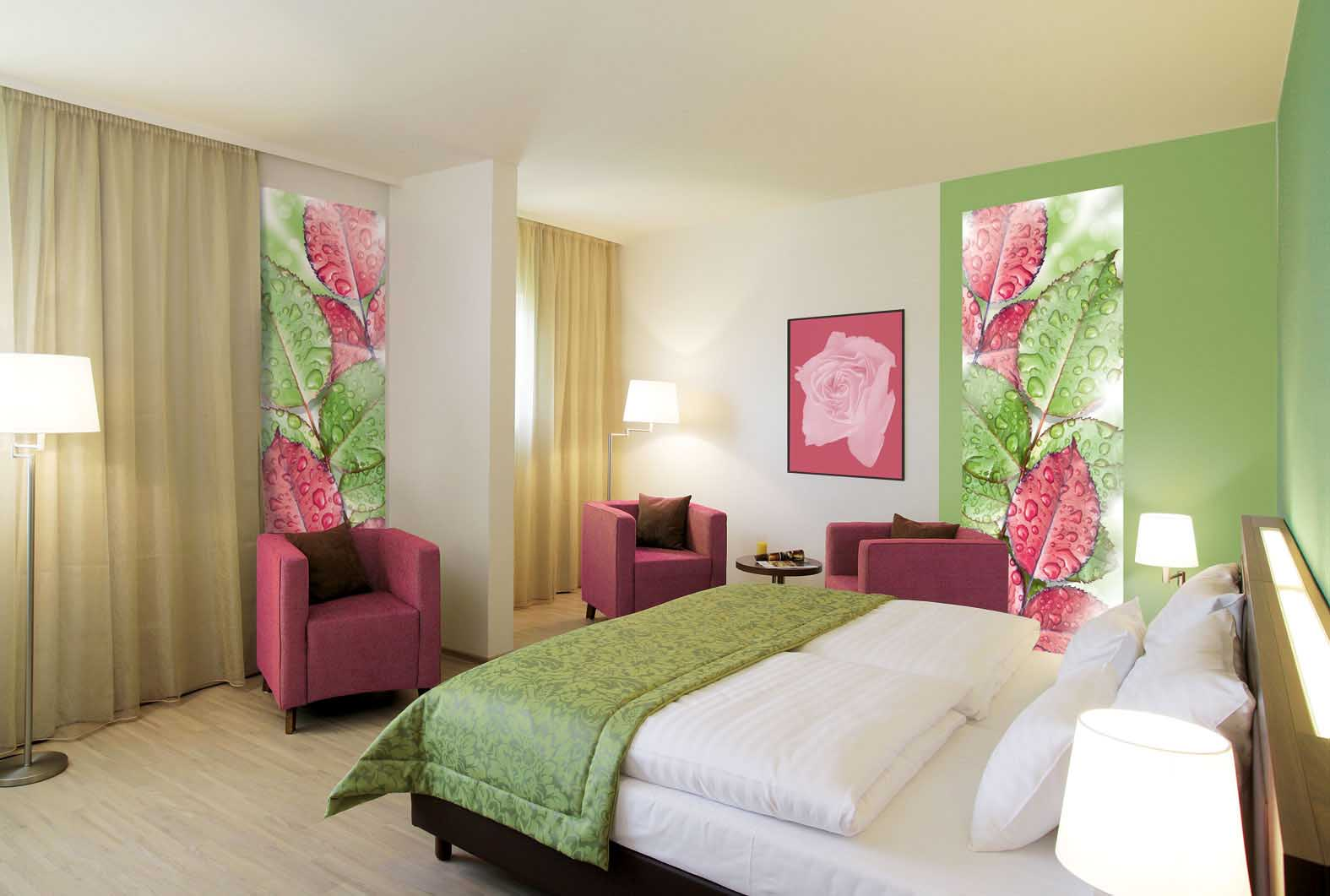 Фотообои с листьями в спальне