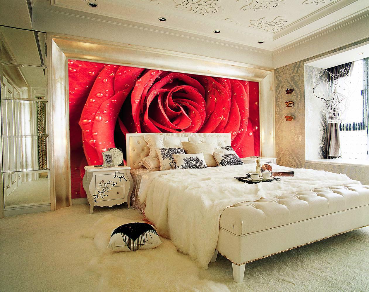 Фотообои с макро розой в спальне