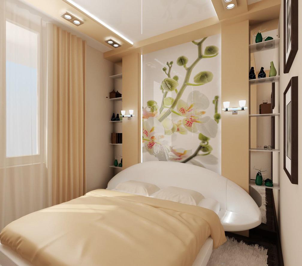 Фотообои с белыми орхидеями в спальне