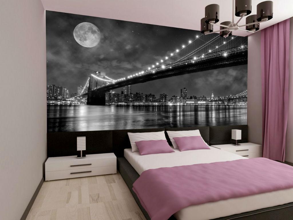 Фотообои с панорамным изображением в спальне