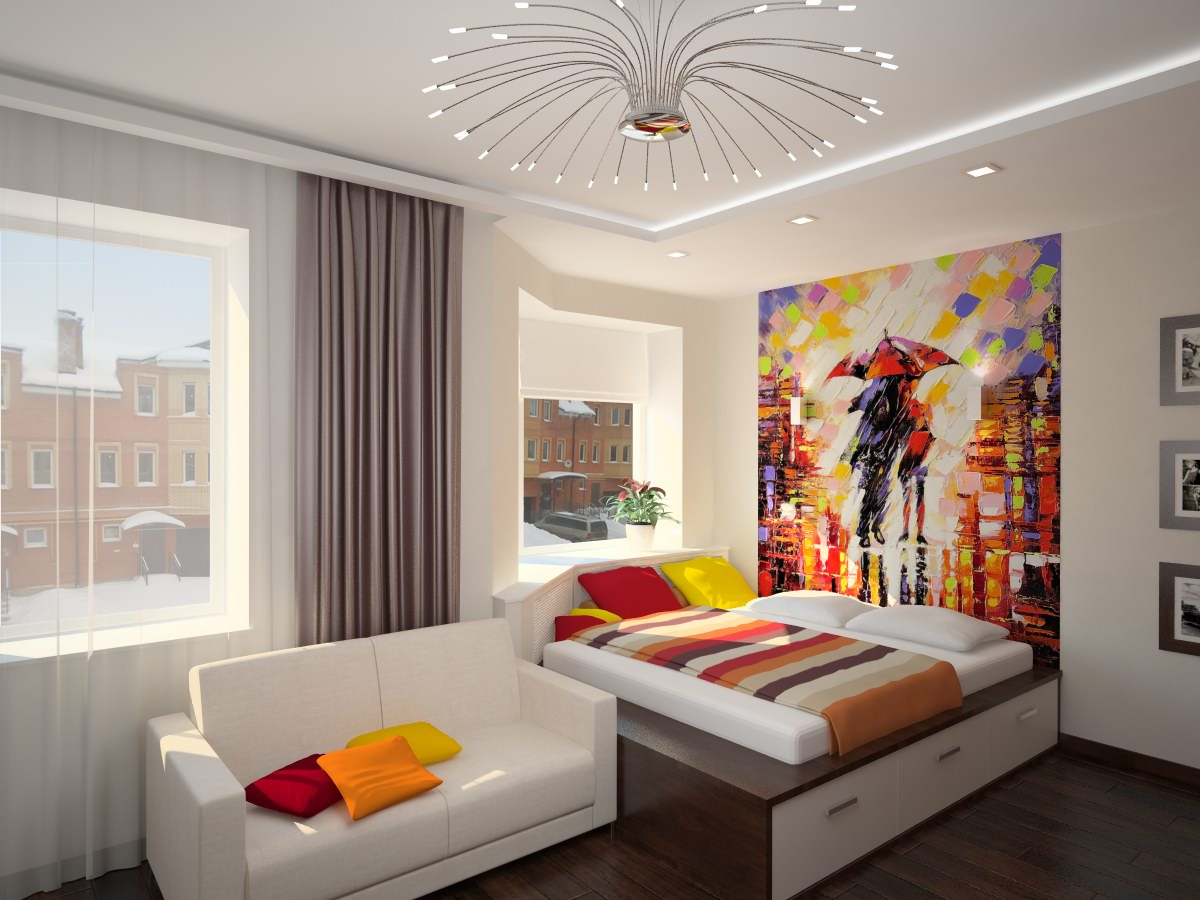 Фотообои с картиной в спальне