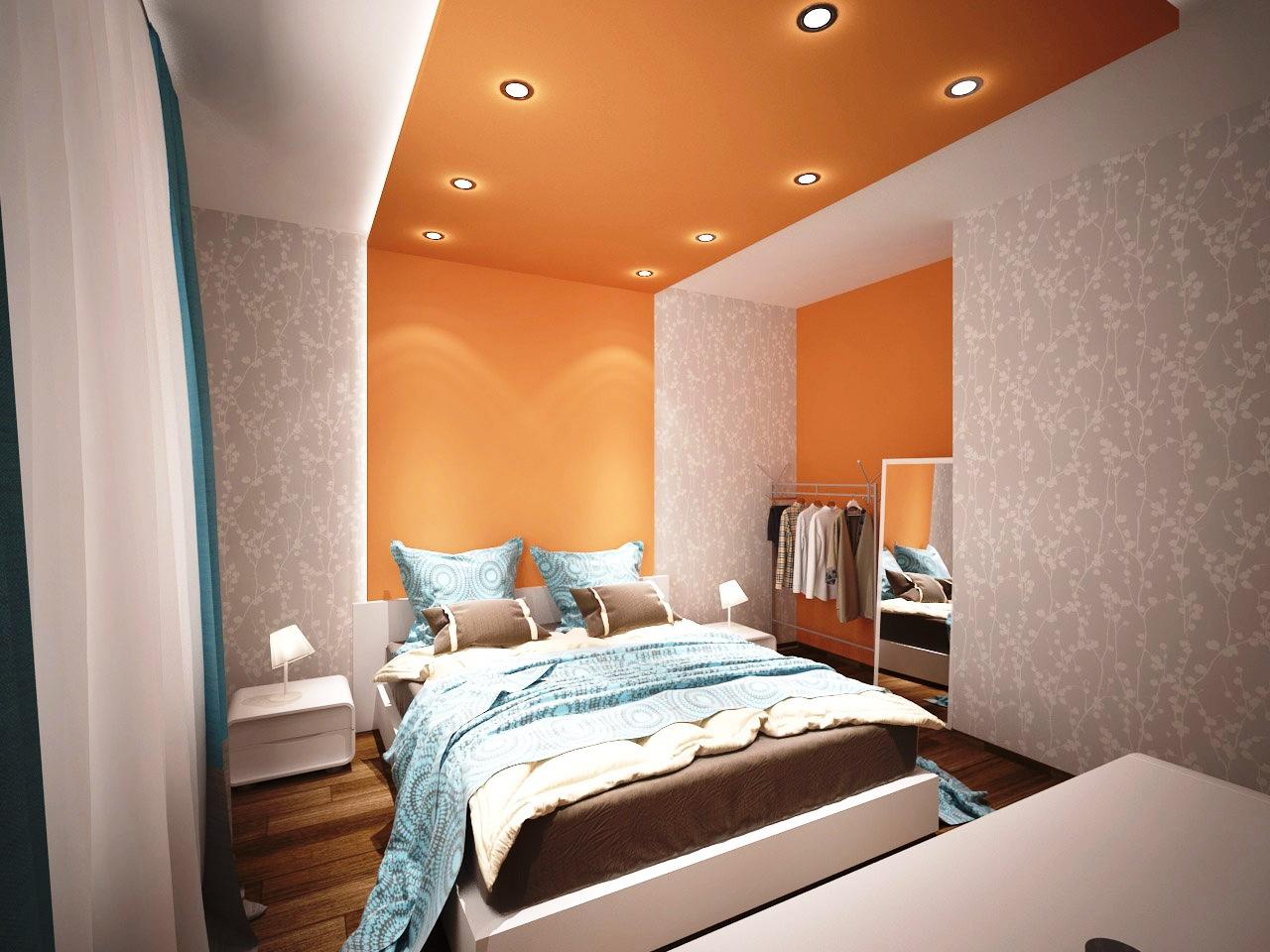Бело-оранжевый потолок в спальне