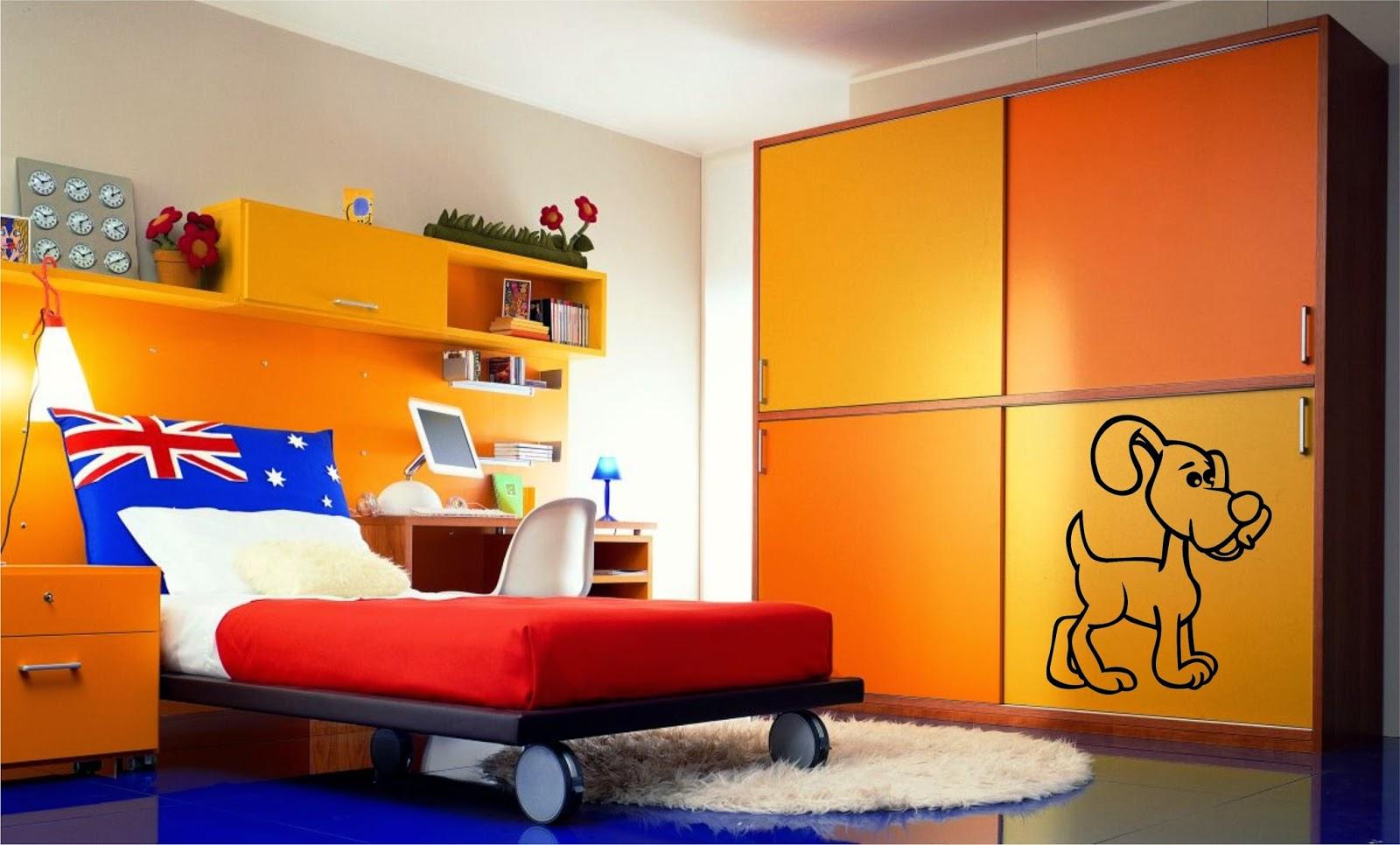 Оранжево-желтая мебель в детской