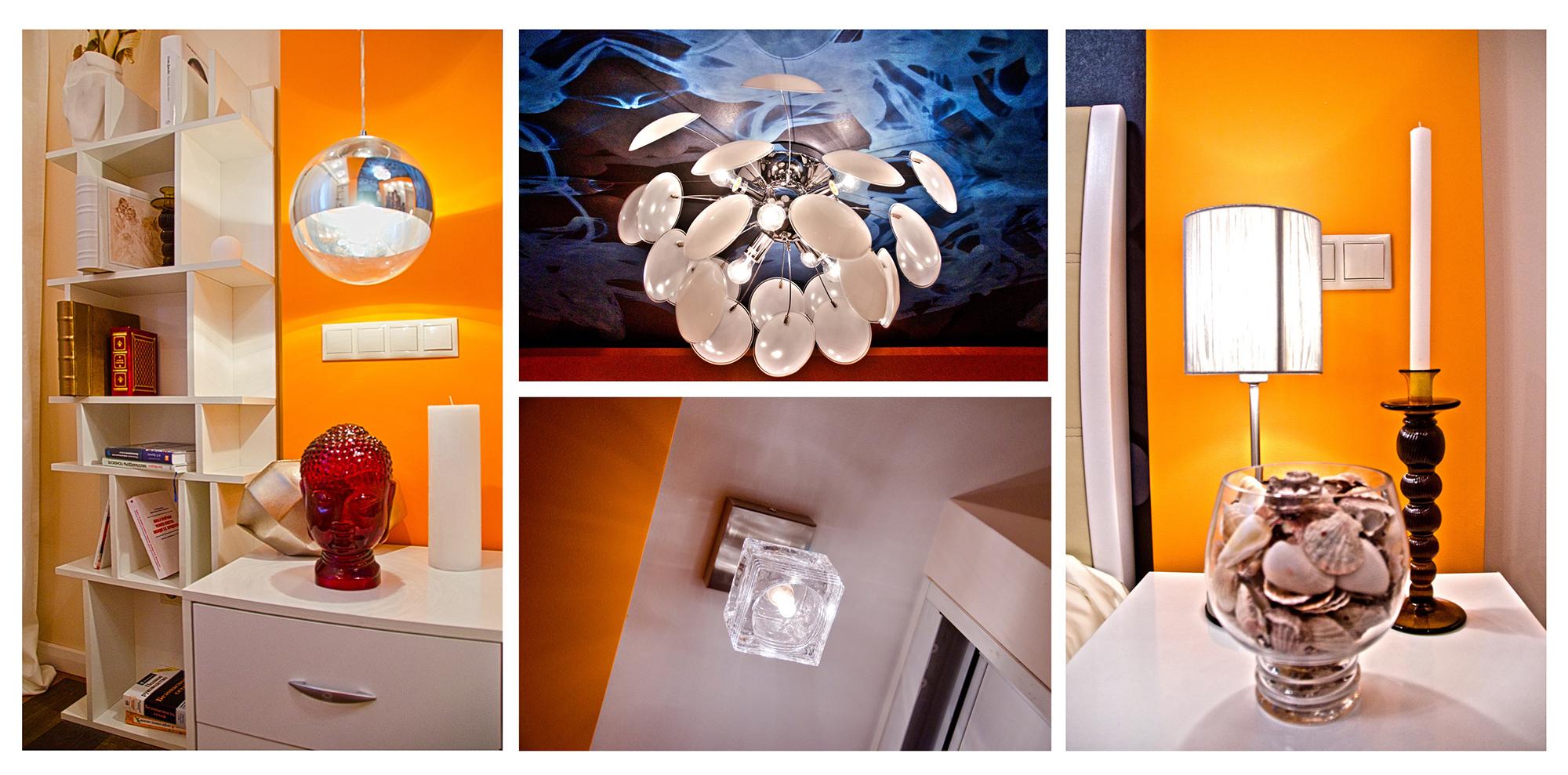 Декорирование оранжевой спальни
