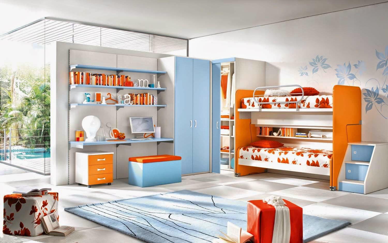 Оранжево-голубая светлая детская