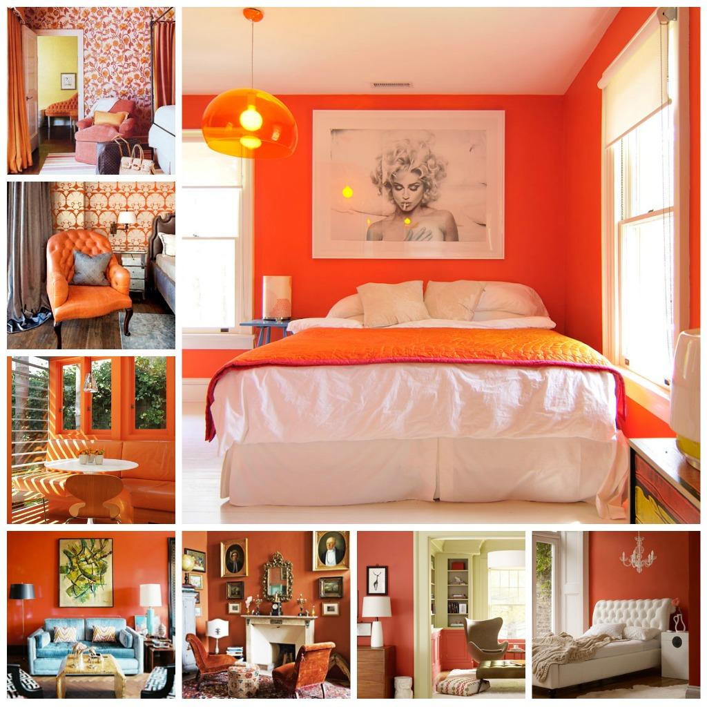 Оранжевая спальня и варианты декорирования