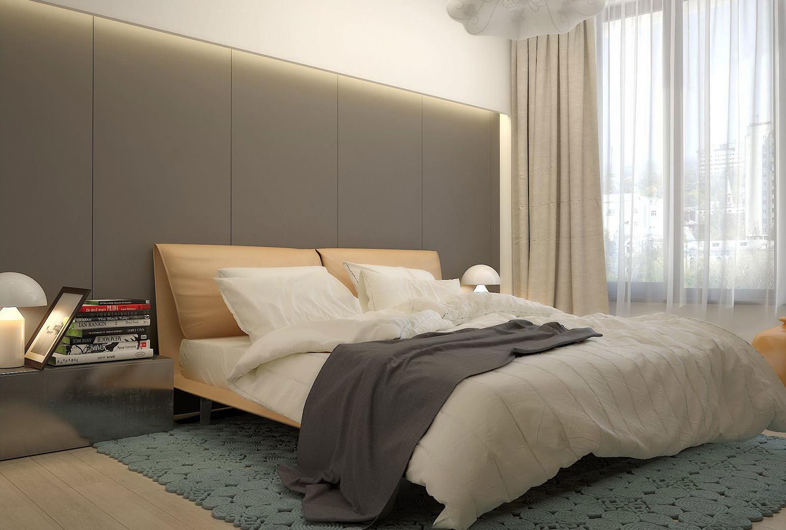 Белый, серый и бежевый цвета в спальне