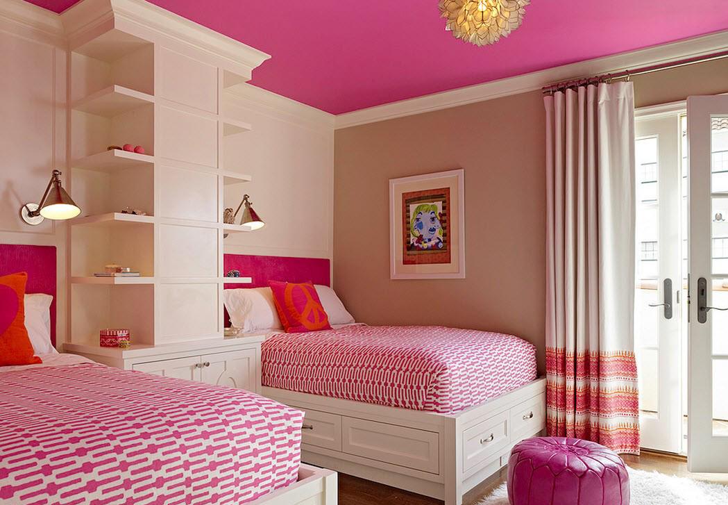 Кремово-розовая спальня