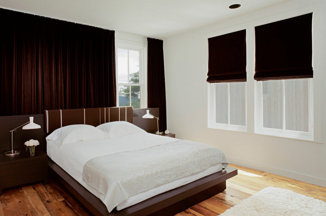Коричнево-белая спальня