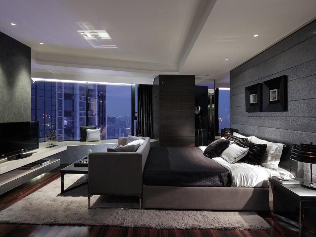 Белый потолок в черно-серой спальне