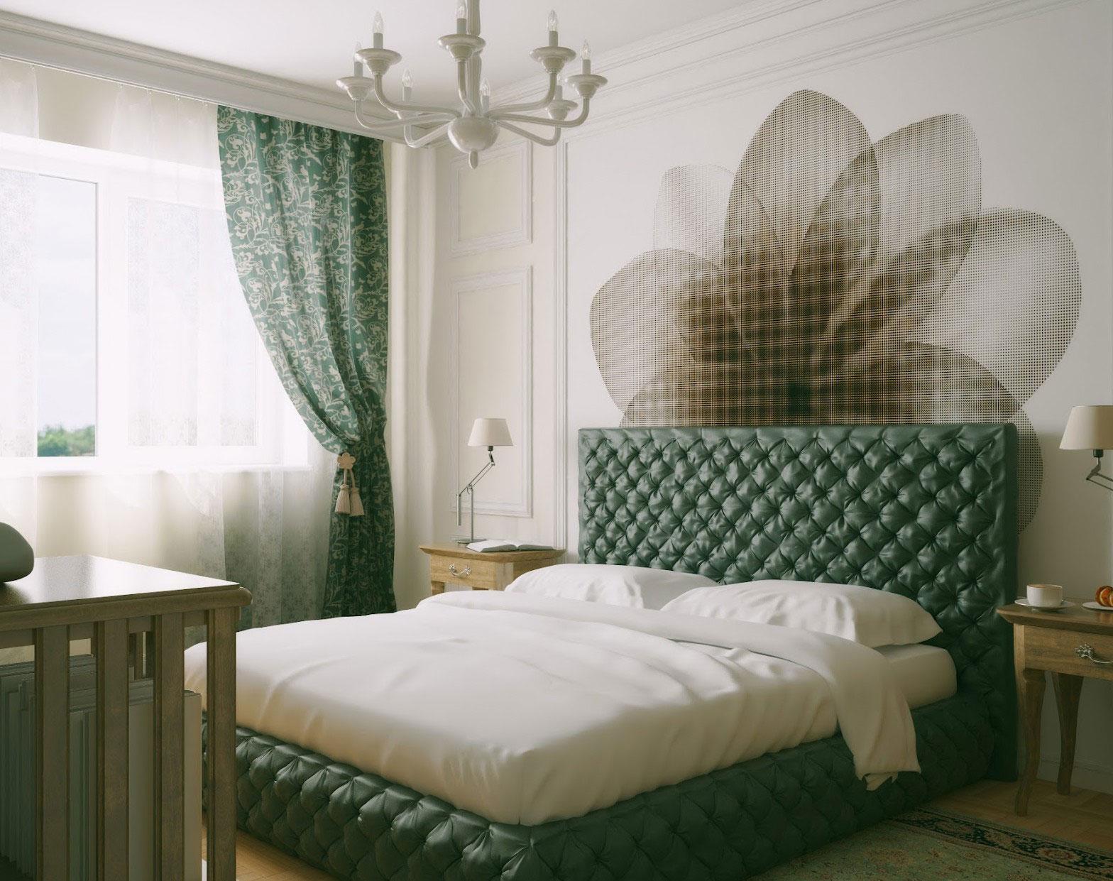 Темно-зеленые и белые шторы в спальне