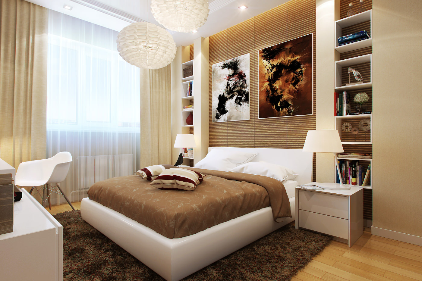 Кремовые шторы в спальне