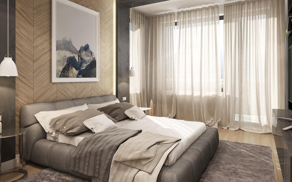 Бежевая стена и пол в спальне