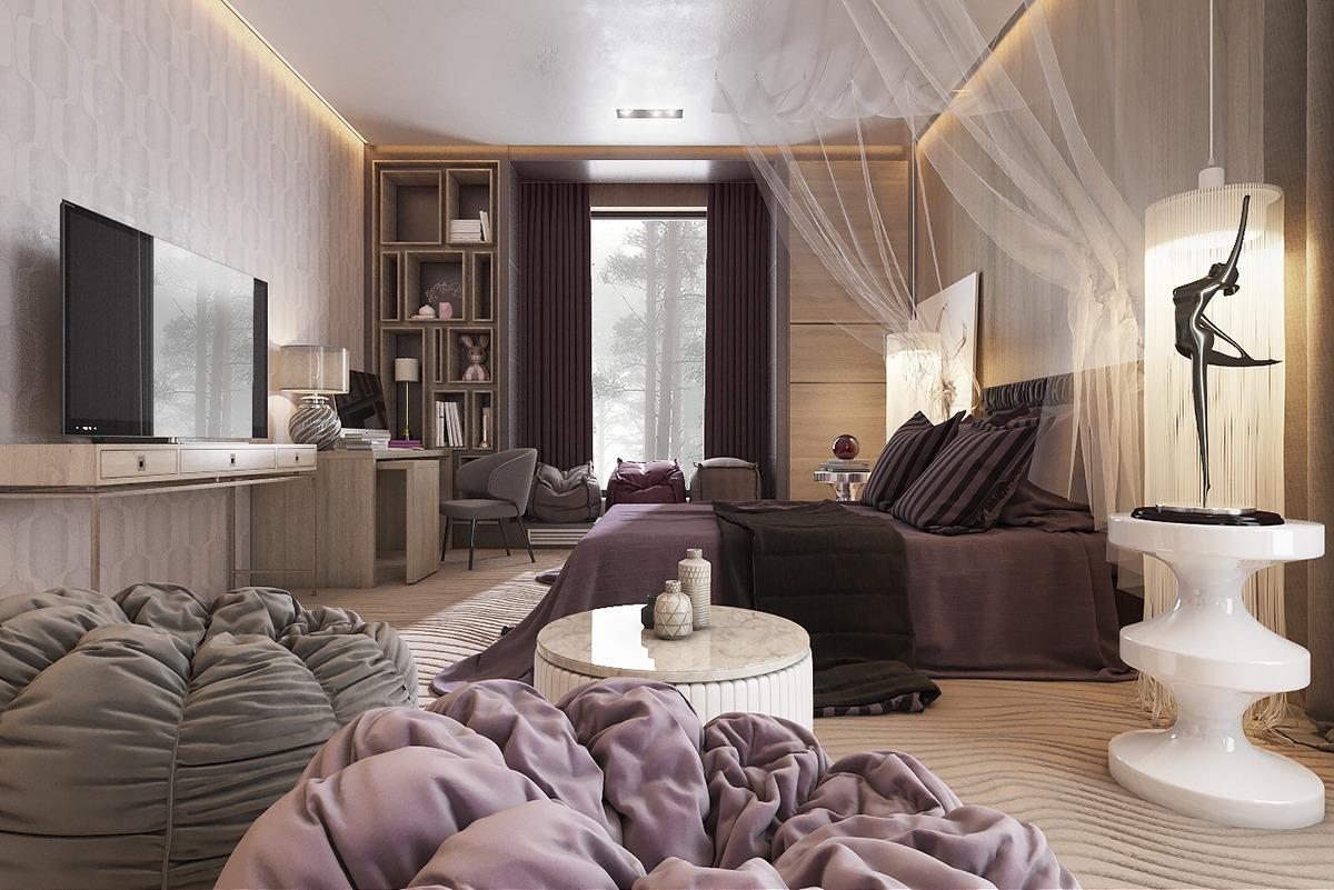 Бежево-фиолетовая спальня