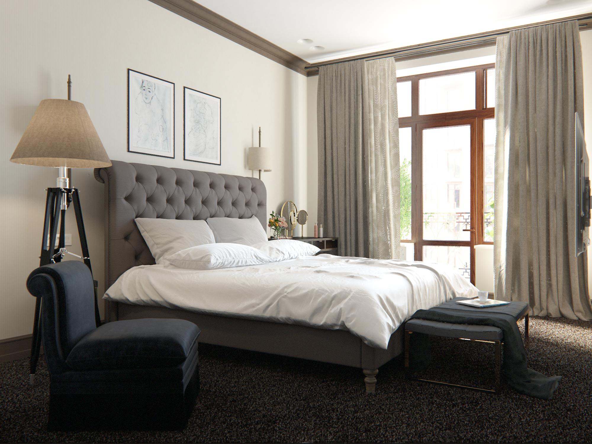 Бежевые стены в интерьере спальни