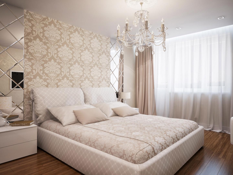 Бежево-белая спальня с коричневым полом и зеркальными панелями