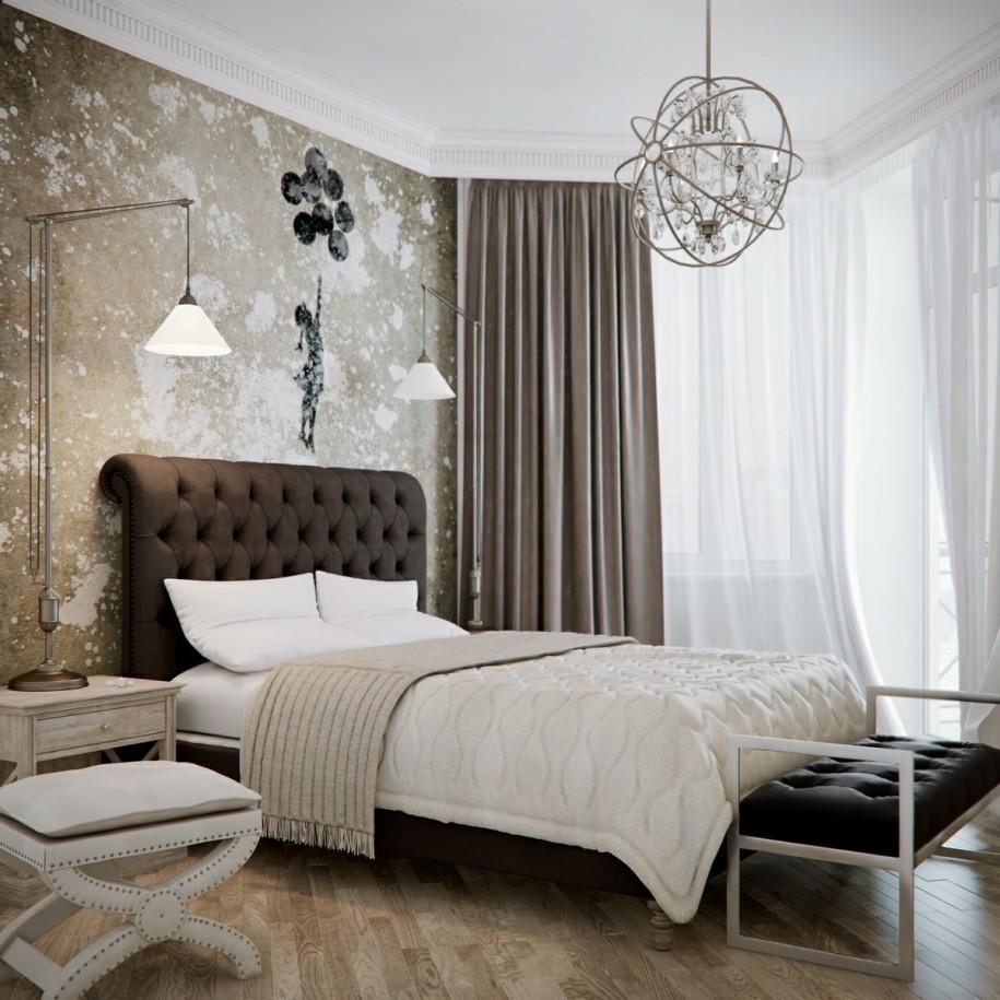 Бежевый текстиль в спальне