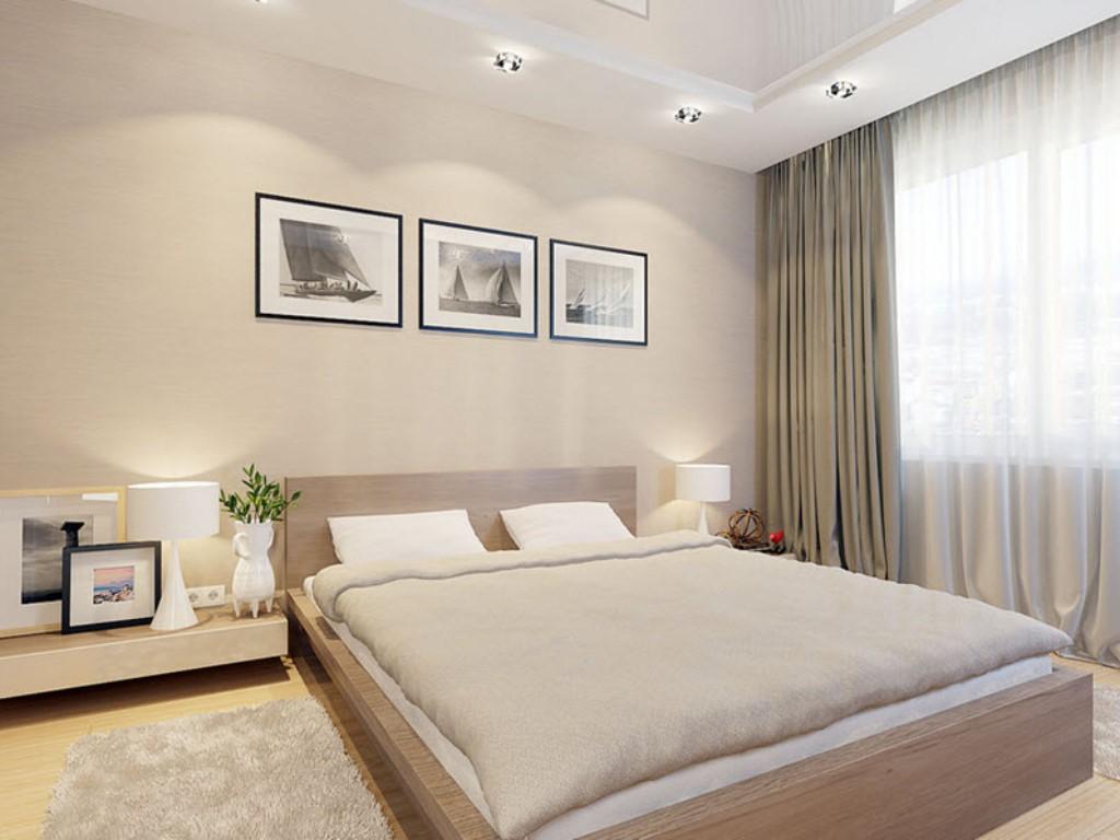 Современная спальня в бежевых тонах