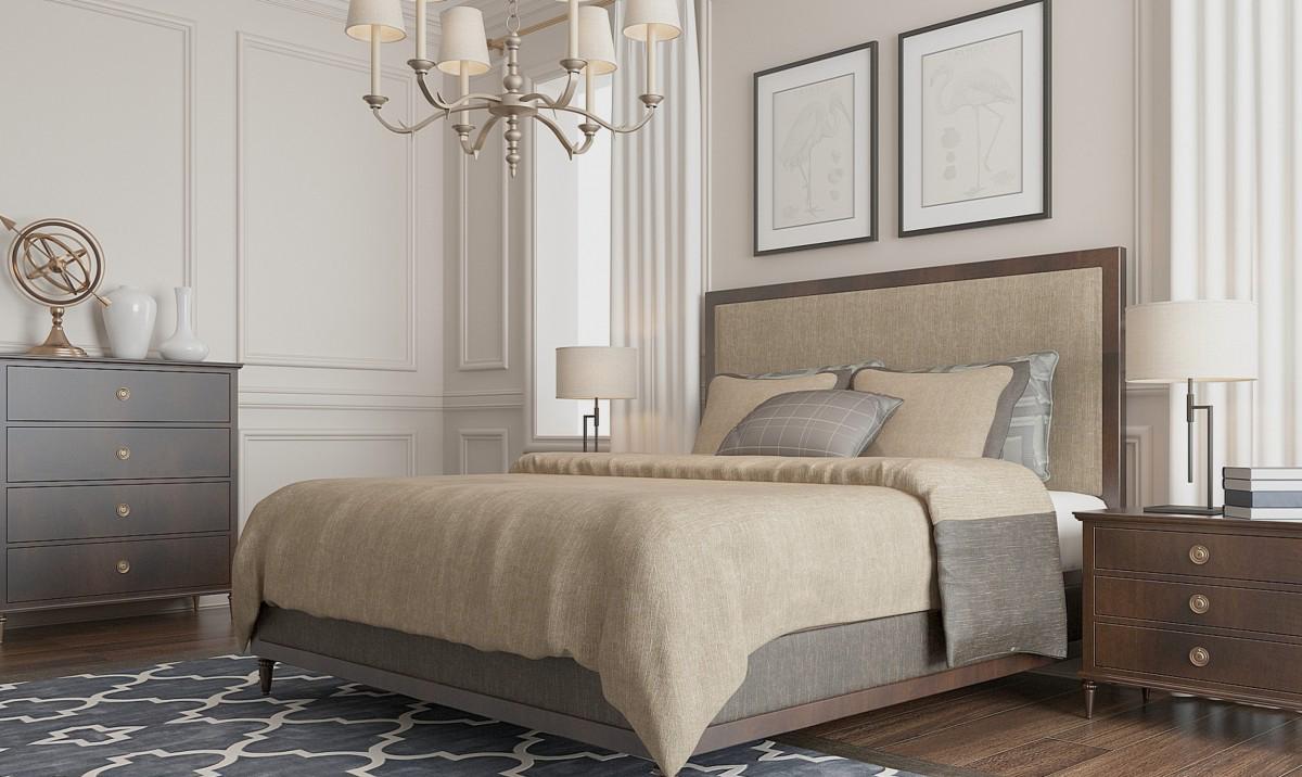 Бежевое постельное белье в спальне