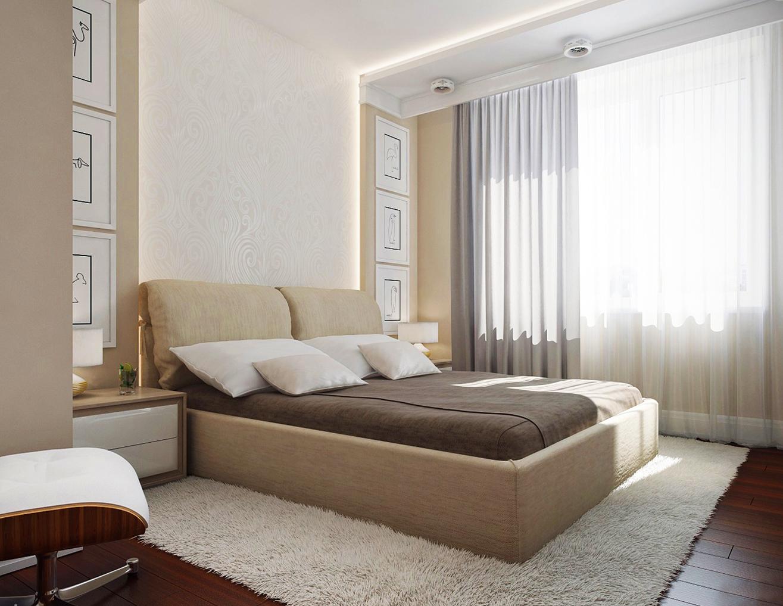 Бежевая кровать в спальне