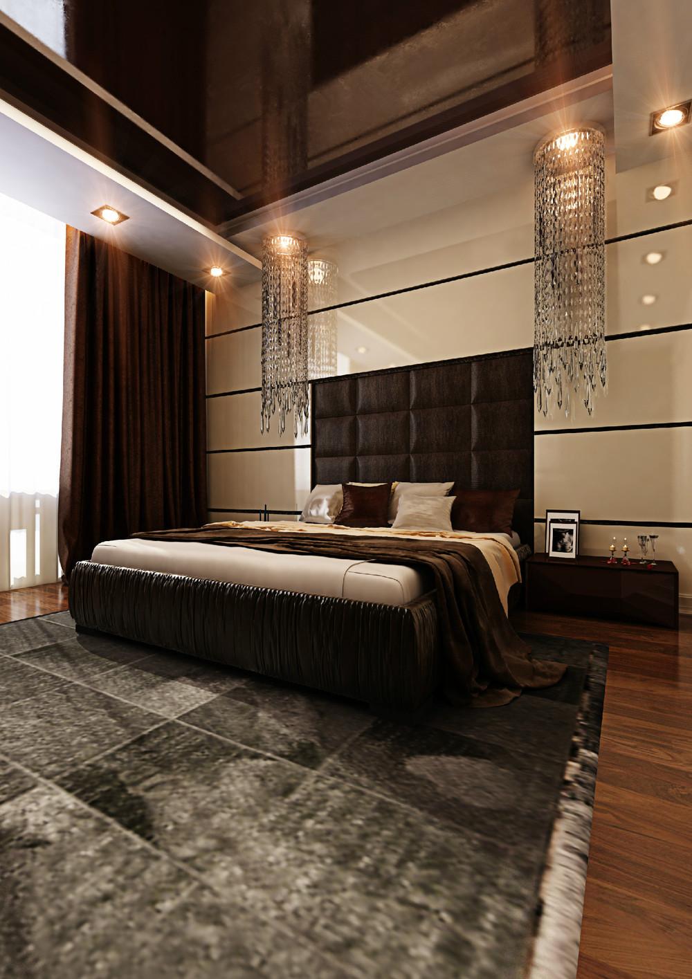 Бежевая глянцевая стена в спальне