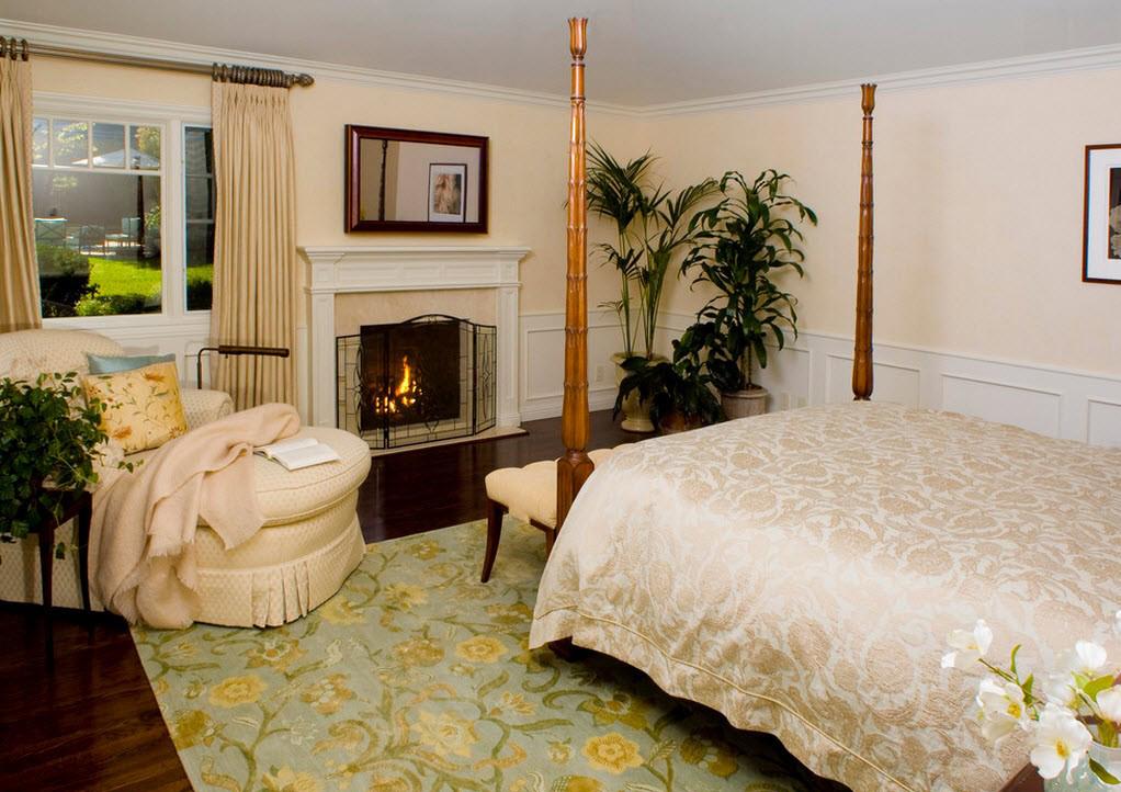 Бежевые стены и текстиль в спальне
