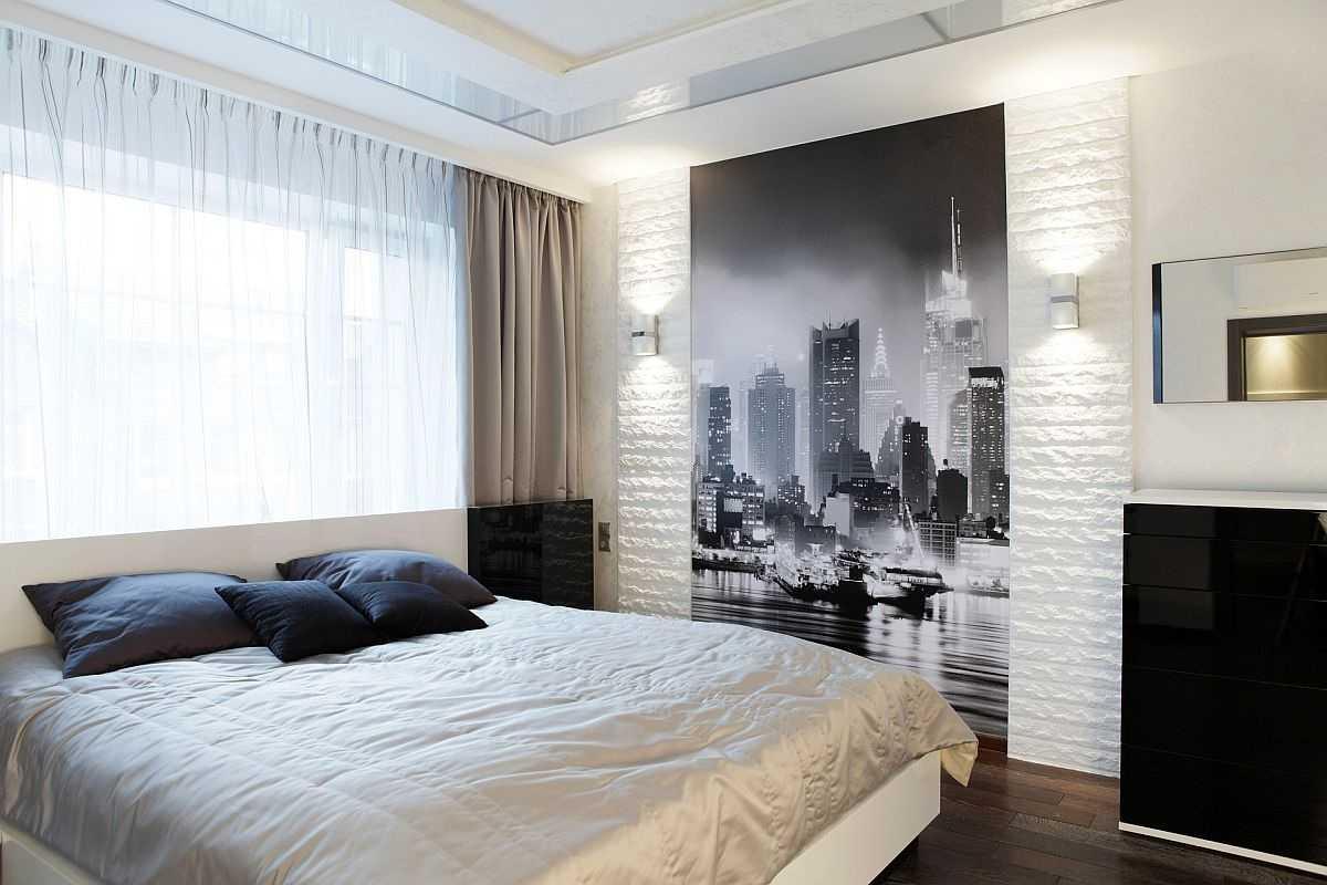 Бежево-золотистый текстиль в спальне