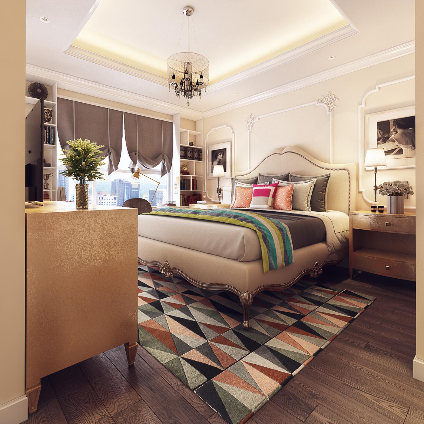 Бежевая классическая мебель в спальне