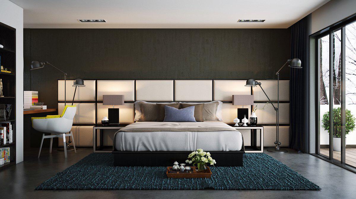 Бежевые панели в спальне