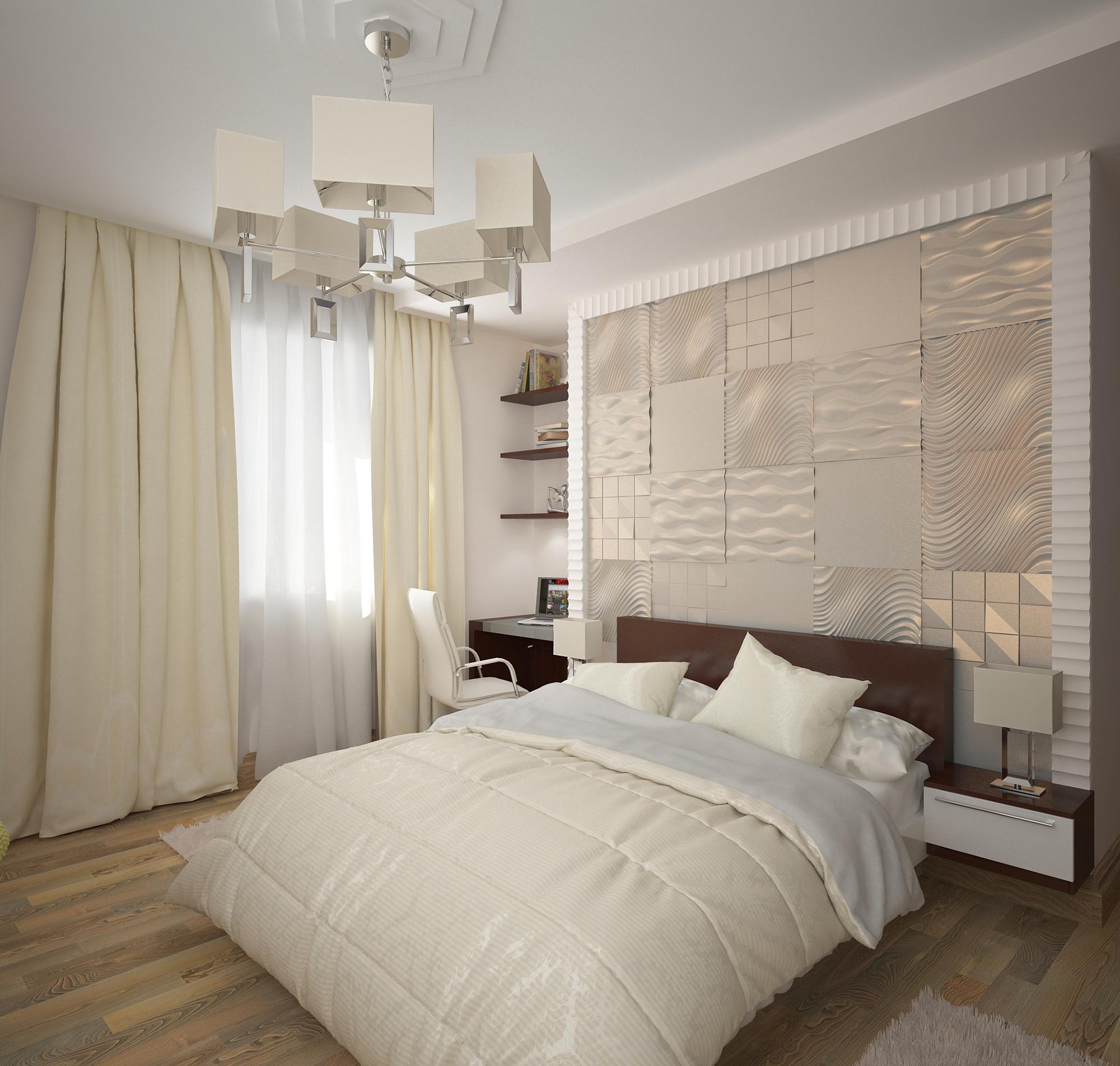 Бежевый текстиль в светлой спальне