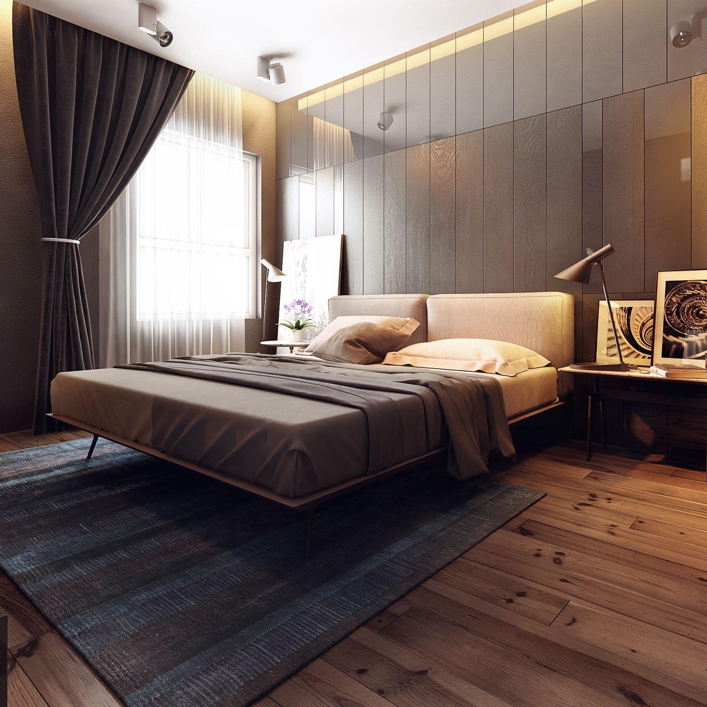 Бежевая кровать и стены в спальне