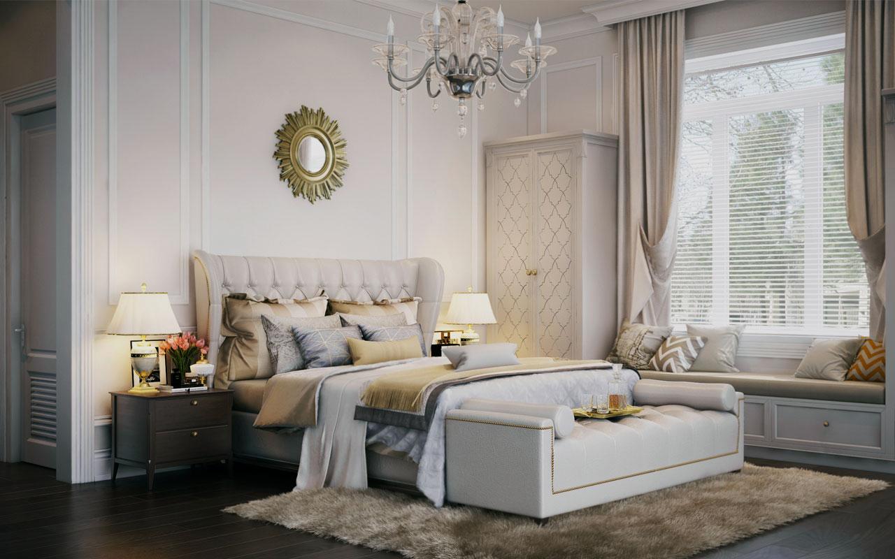 Бежевые акценты в бело-серой спальне