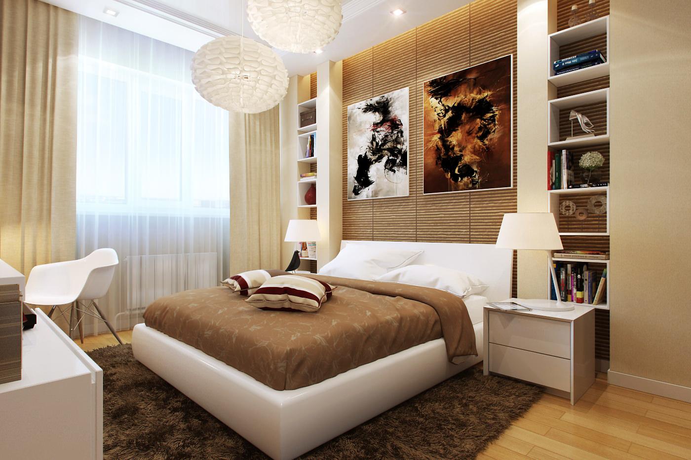 Бежевый, белый и коричневый цвета в интерьере спальни