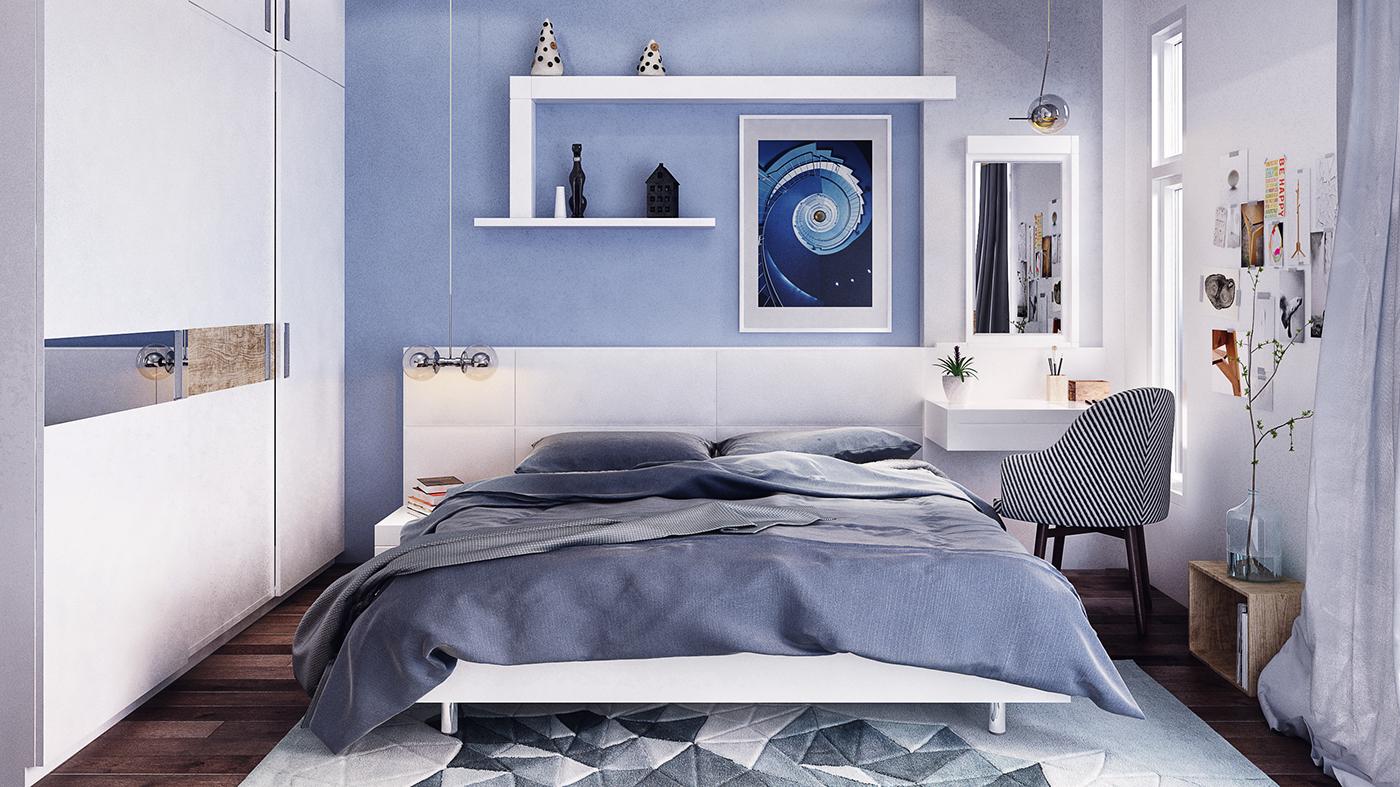 Голубые акценты в современной спальне
