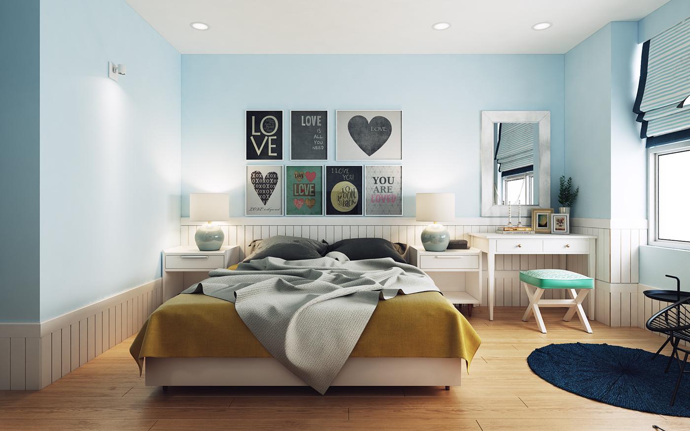 Голубой, желтый, коричневый и белый цвета в спальне