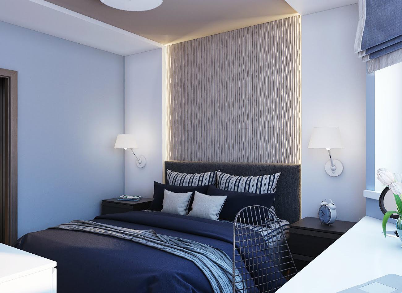 Коричнево-голубые стены в спальне