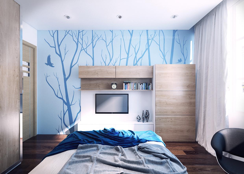 Коричнево-голубые акценты в спальне