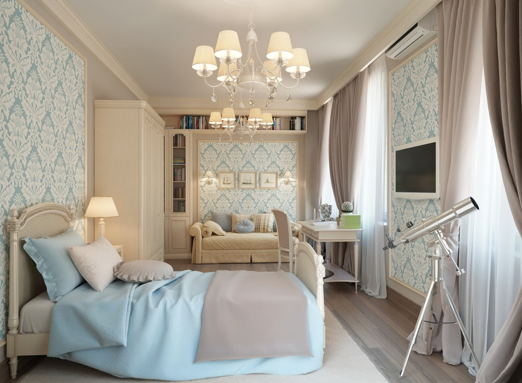 Бежево-голубая детская комната