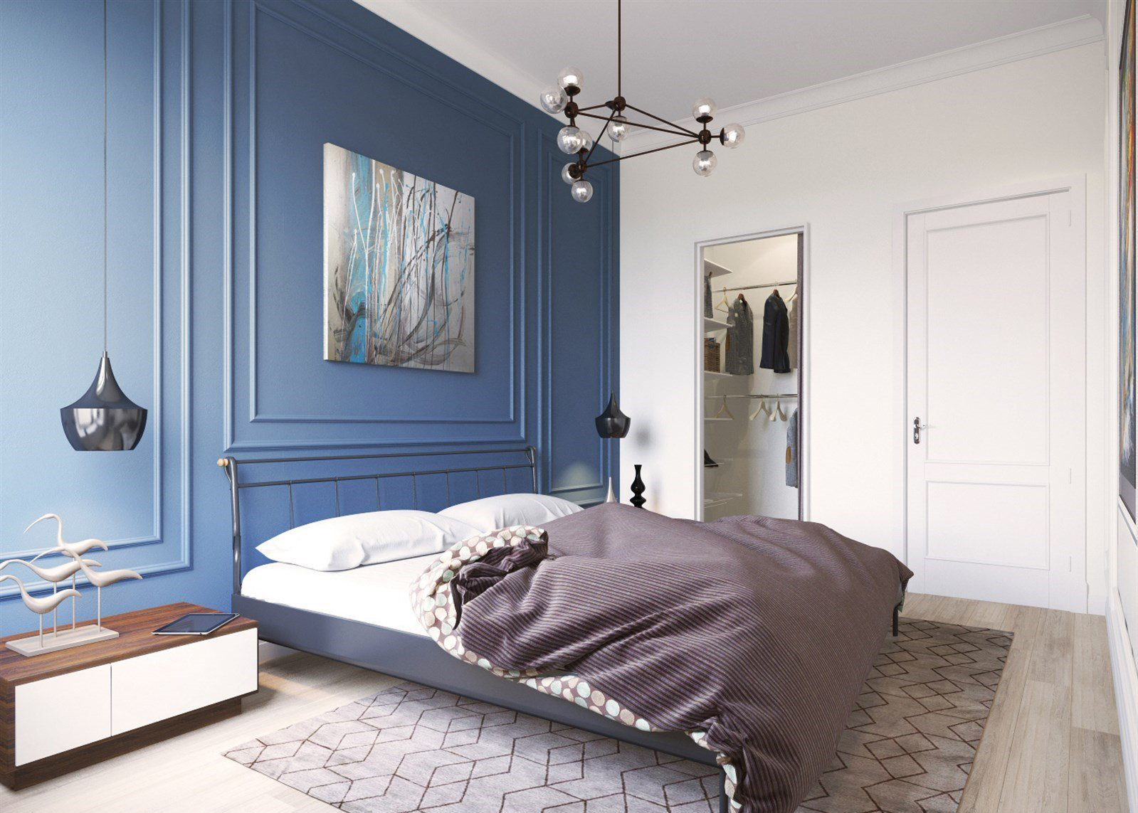 Голубая стена в спальне