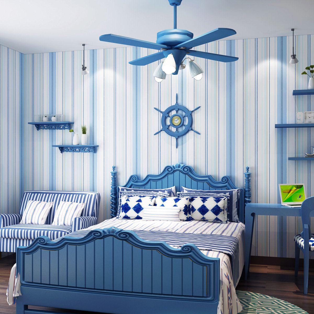 Голубые и синие акценты в спальне