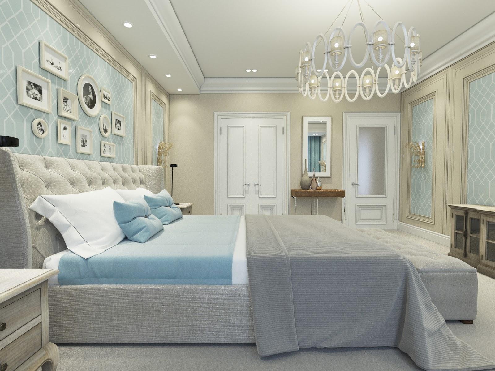 Голубые акценты в бежево-серой спальне