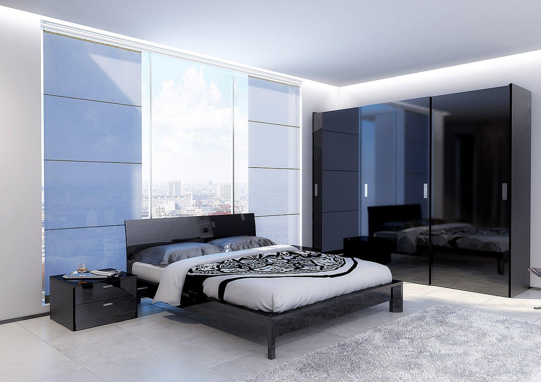 Голубой, серый и черный цвета в спальне