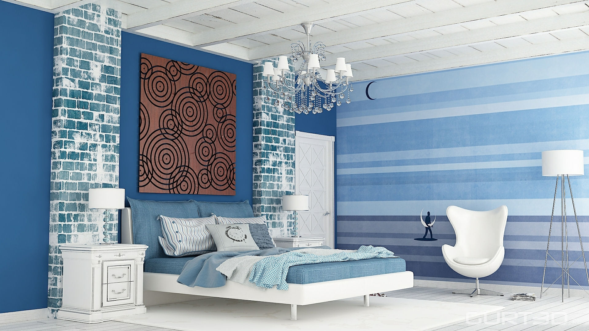 Полосатые голубые стены в спальне