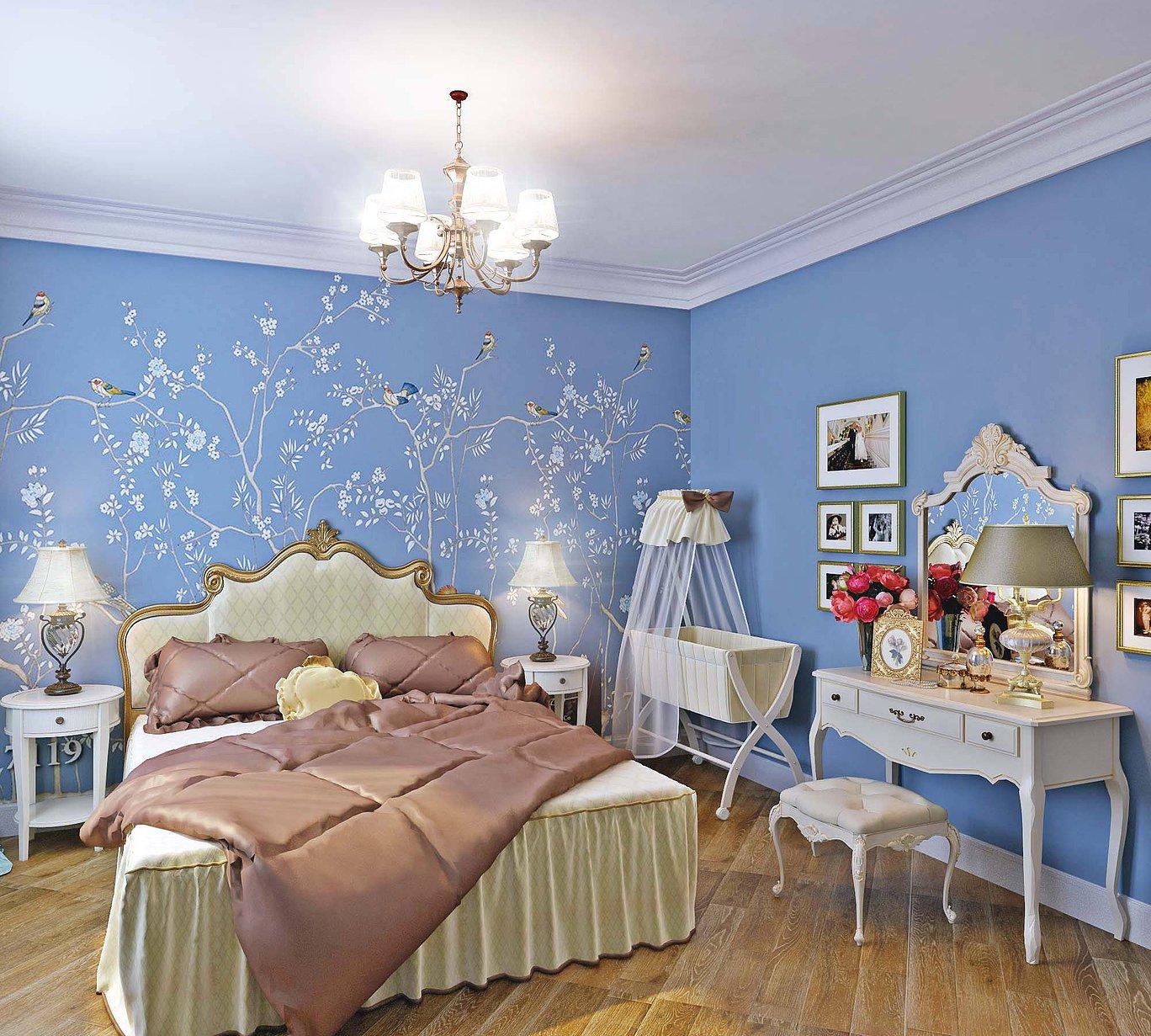 Голубые стены и рисунком в спальне