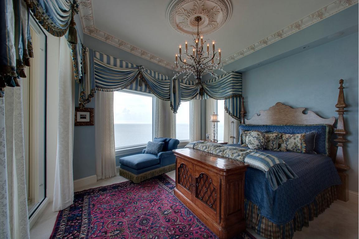 Синяя спальня в стиле ампир