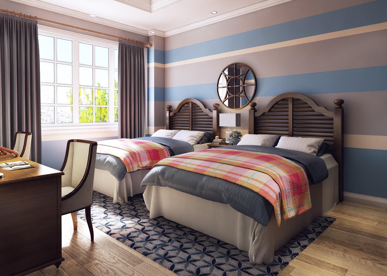 Синие полосы на стенах спальни