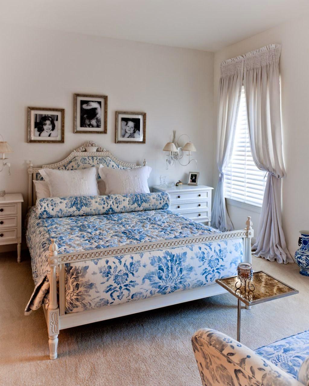 Сине-белая спальня в стиле прованс