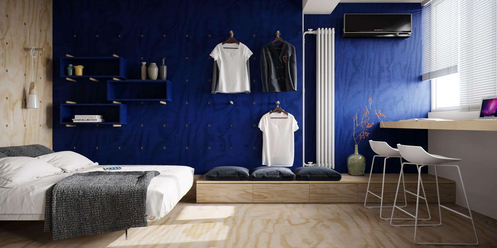 Синяя стена в бежевой спальне